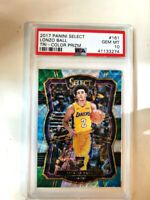 2017-18 Panini Select Tri-Color Prizm Lonzo Ball Lakers RC Rookie PSA 10
