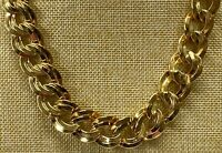 Signed MONET Vintage Gold Tone Double Link Chain Necklace #10/13