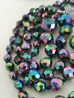 Vintage Czech Aurora Borealis Carnival Peacock Glass Double Strand Bead Necklace
