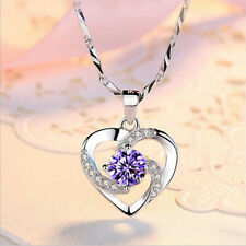 Valentine's Gift Heart Natural Purple Amethyst Gemstone Silver Necklace Pendants