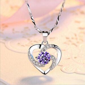 Valentine's Gift Heart Natural Purple Amethyst Gemstone Silver Necklace Pendants