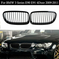 Glossy Black Front Kidney Grille Grill for BMW E90 E91 Facelift 325i 09-2011 XE
