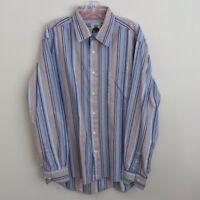 R&G London New York Size XL Mens Stripe Shirt Flip Cuff Blue Button Down