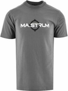 MA.STRUM Men's Short Sleeve Logo Print T-Shirt Cotton Grey Casual Crew Neck Top