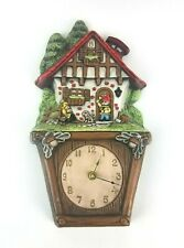 Vintage Ceramic Wall Clock Atlantic Mold Gnomes Garden Cottage