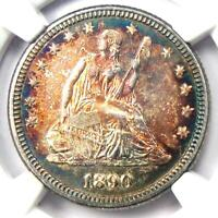 1890 Seated Liberty Quarter 25C. NGC Uncirculated Detail (UNC MS) - Rare Coin!