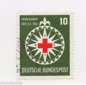 1953 Germany Sc 696 Θ used VF, mute cancel, The Red Cross & the Compass