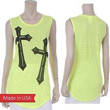 Vocal Apparel Vivid Neon Yellow Cross Print w/ Studs Detail Tank Top Shirt USA