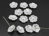 200 Pure White Acrylic Pearl Flower Bead Cap Bead 12mm Sewing Bow Center Wedding