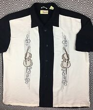 Cubavera Mens XL Shirt White Black Rayon Bowling Camp Hawaiian Embr Violin Note