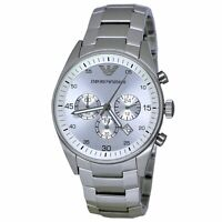 Men's Emporio Armani Watch Wrist Silver Stainless Steel 43 MM 5 ATM $325