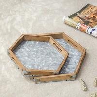 MyGift Set of 2 Hexagon Rustic Brown Wood and Galvanized Metal Serving Trays