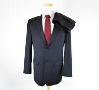 Pronto Uomo Mens Wool 2 Piece Black Suit Size 40L Solid Dark Black