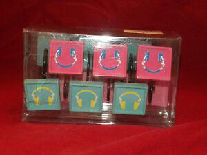 Set of 12 Headphone Girl Resin Shower Curtain Hooks - NEW - Pink & Blue - EB38