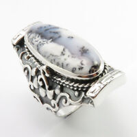Real DENDRITIC AGATE 925 Pure Sterling Silver 13.4 Grams Ladies' Ring Size 7 New