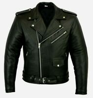 Men's Real Leather Jacket Marlon Style Motorcycle Jacket 100% Lambskin Leather