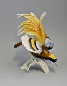 9941192 Porzellan Figur Paradiesvogel gelb Vogel Ens H21cm