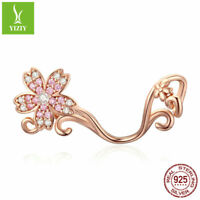 Authentic 925 Sterling Silver Charms Rose Gold Pendant Fit Women Bracelet Chain