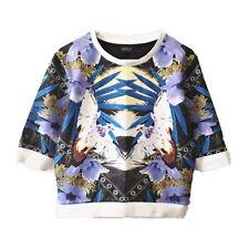 TOPSHOP Womens Floral Bird Jumper Stretch Sweater Purple 3/4 Long Sleeves Sz 8