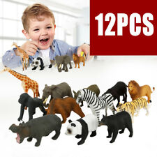12pcs Zoo Simulation Tiger Leopard Hippo Giraffe Wild Animal Model Kids Toys US