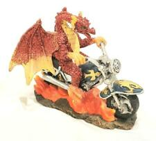 """New Red Dragon Flaming Motorcycle Small Dragon Sculpture - 4.5"""" x 5"""" 3.75"""""""