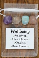Wellbeing Crystal Gift Set Rose Clear Quartz Opalite Amethyst Happiness Health