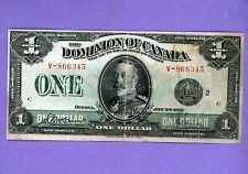 1923 $1 Dominion Of Canada Crisp Large Black Seal Mid Grade Note