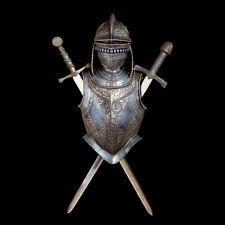 Medieval European Helmet Armor & Swards Wall Display Replica