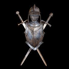 Medieval European Helmet Armor & Swards Wall Display Replica
