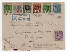 1927 MAURITIUS TO MADAGASCAR REG COVER, SUPERB 7 COLORS FRANKING, LOOK