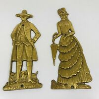 VINTAGE LORD AND LADY BRASS WALL PLAQUES