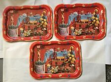 "Vtg Set Of 3 Coca Cola Coke Large Tray 18.75"" Collectible Violin Harvest S11"