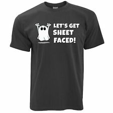 Novelty Halloween T Shirt Let's Get Sheet Faced Drunk Alcholic Ghost Party