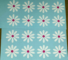 16 white Daisy Flowers with pink centers- car sticker, decals, Daisies wall art