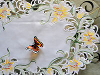 """Dresser Scarf Lily Flower Lace 54"""" Table Runner Doily Lilies Easter Spring"""
