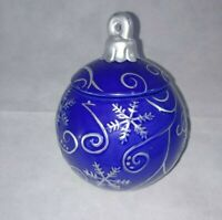 Christmas Tree Ornament Cookie Jar Canister Ceramic by David's Cookies - Blue