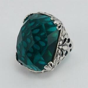 SILPADA Sterling Silver Caspian Sea 5 Faceted teal green Aqua chunky Ring R2456
