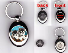 SIBERIAN HUSKY PUPPIES TROLLEY COIN TOKEN KEYRING - DOG ANIMAL PET LOVER GIFT