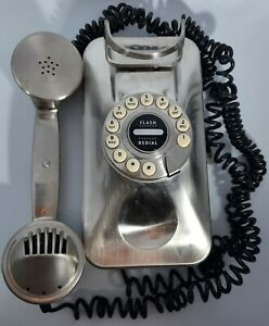 Pottery Barn GRAND WALL PHONE CORDED FAUX DIAL PUSH BUTTON RETRO SILVER