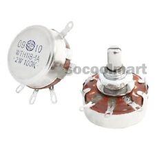 New 100K Ohm 2W Linear Pot Single Turn Taper Carbon Potentiometers 5 Pcs