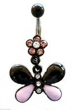 Belly Ring Butterfly 2-Tone Pink/Black Animal Dangle Naval Steel Body Jewelry
