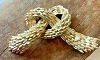 Signed TRIFARI Vintage Textured Gold Tone Knot Bow Pretzel Brooch Pin