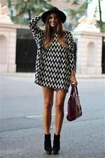 HOT Womens Stripes Long Sleeve Casual Short Dress Long Tops T Shirt Dress FI
