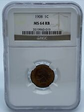 NGC MS-64 RB 1908 Indian Head Cent