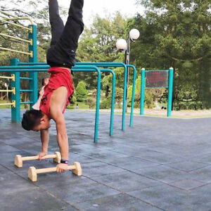 A Pair/2pc Wooden Parallettes Gymnastics Yoga Crossfit Pushup Bars Handstand Bar
