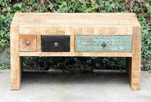 Eclectic Vintage Reclaimed Timber Multi Drawer Storage Coffee Table