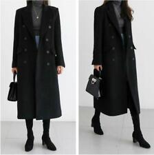 Women Tailored collar Double-breasted Trench Coat Faux Wool Long Quilted Outwear