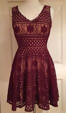 City Studio Mini Lace Dress Fit & Flare Sleeveless Merlot Natural S NWOT