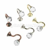 2Pcs Round Crystal Home Wall Decor Mounted Curtain Pole Hooks Hanger with Screws