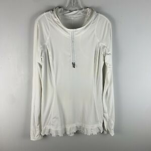 Lululemon White Run In The Sun Ponytail Hole Sun Protection Hoodie Pullover 8 M